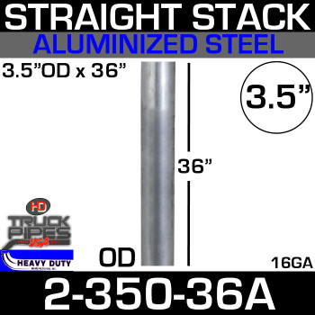 "3.5"" x 36"" Stack Pipe OD End - Aluminized Square Cut 2-350-36A"
