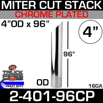 "4"" x 96"" Stack Pipe OD End - Chrome Miter/Angle Cut 2-401-96CP"