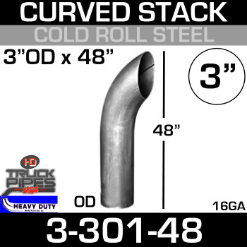 "3"" x 48"" Curved Stack Pipe OD End - Steel 3-301-48"
