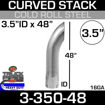 "3.5"" x 48"" Curved Stack Pipe ID End - Steel 3-350-48"