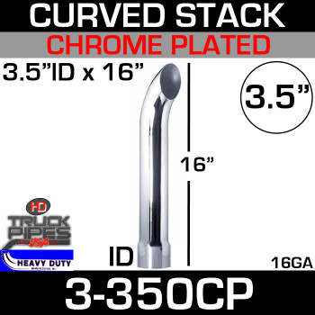 "3.5"" x 16"" Curved Stack Pipe ID End - Chrome 3-350CP"