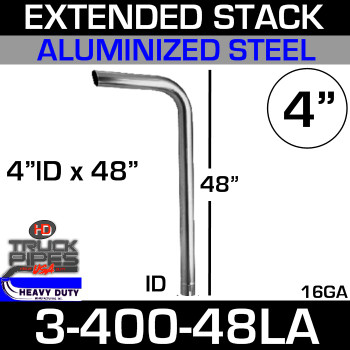 "4"" x 48"" Extended Stack Pipe ID End - Aluminized 3-400-48LA"