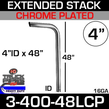 "4"" x 48"" Extended Stack Pipe ID End - Chrome 3-400-48LCP"