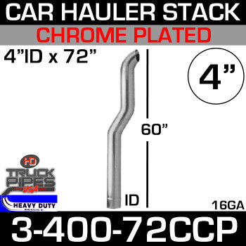 "4"" x 72"" Car Hauler Stack ID End - Chrome 3-400-72CCP"
