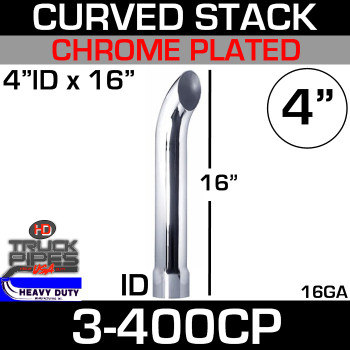 "4"" x 16"" Curved Stack Pipe ID End - Chrome 3-400CP"