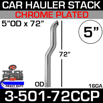 "5"" x 72"" Car Hauler Stack OD End - Chrome 3-501-72CCP"