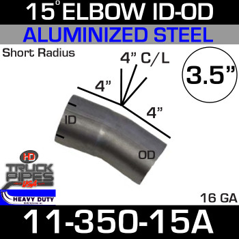 "15 Degree Exhaust Elbow 3.5"" x 4"" ID-OD Aluminized 11-350-15A"