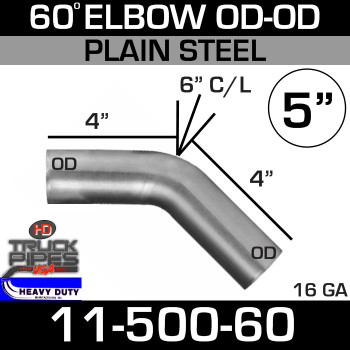 "60 Degree Exhaust Elbow 5"" x 4"" Legs ID-OD Steel 11-500-60"
