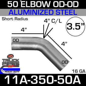 "50 Degree Short Radius Exhaust Elbow 3.5"" x 4"" Legs OD-OD ALZ 11A-350-50A"