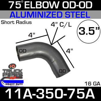 "75 Degree Short Radius Exhaust Elbow 3.5"" x 4"" Legs OD-OD ALZ 11A-350-75A"
