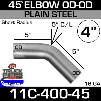 "45 Degree Exhaust Elbow 4"" x 5.25"" ID-OD Steel 11S-400-45"