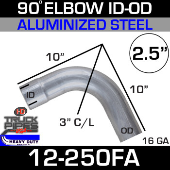 "90 Degree Exhaust Elbow 2.5"" x 10"" ID-OD Aluminized 12-250FA"
