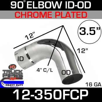 "90 Degree Exhaust Elbow 3.5"" x 12"" ID-OD Chrome 12-350FCP"