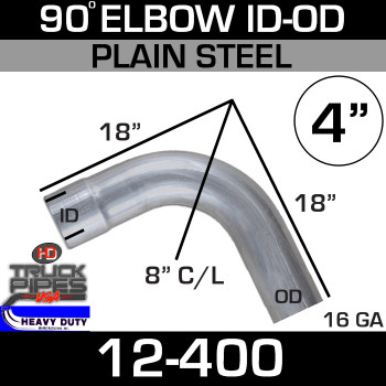 "90 Degree Exhaust Elbow 4"" x 18"" ID-OD Steel 12-400"