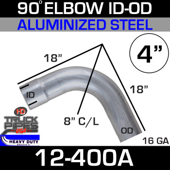 "90 Degree Exhaust Elbow 4"" x 18"" Legs ID-OD Aluminized L400"