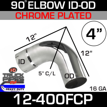 "90 Degree Exhaust Elbow 4"" x 12"" ID-OD Chrome 12-400FCP"