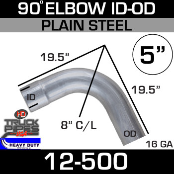 "90 Degree Exhaust Elbow 5"" x 19.5"" ID-OD Steel 12-500"