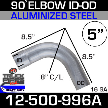 "90 Degree Exhaust Elbow 5"" x 8.5"" ID-OD Aluminized 12-500-996A"