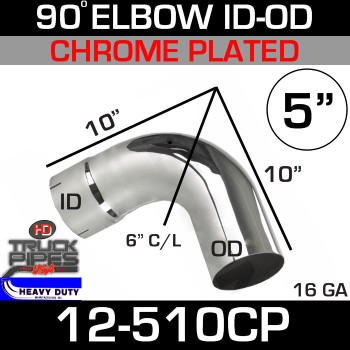 "90 Degree Exhaust Elbow 5"" x 10"" ID-OD Chrome 12-510CP"