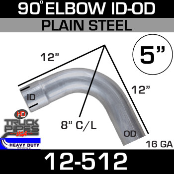 "90 Degree Exhaust Elbow 5"" x 12"" ID-OD Steel 12-512"