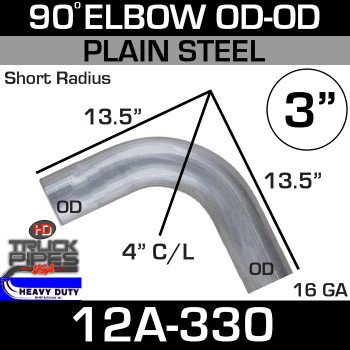 "90 Degree Short Radius Exhaust Elbow 3"" x 13.5"" OD-OD Steel 12A-330"