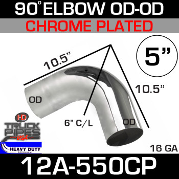 "90 Degree Short Radius Exhaust Elbow 5"" x 10.5"" OD-OD Chrome 12A-550CP"