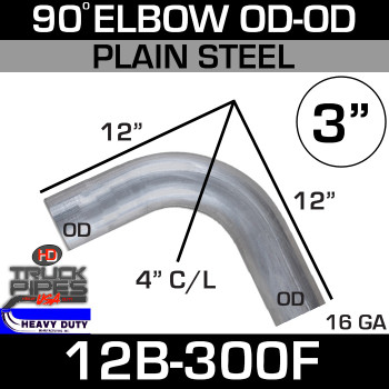 "90 Degree Exhaust Elbow 3"" x 12"" OD-OD Steel 12B-300F"