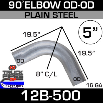 "90 Degree Exhaust Elbow 5"" x 19.5"" OD-OD Steel 12B-500"