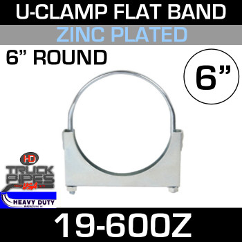 "6"" U-Clamp Flat Band Zinc"