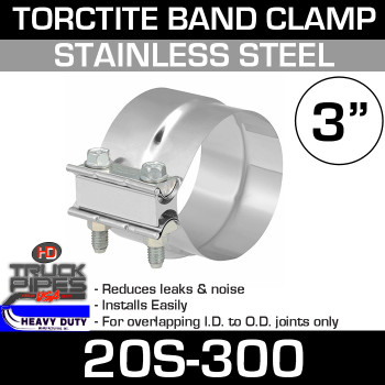 """3"""" Band Clamp - Stainless Steel Preformed Clamp 20S-300"""