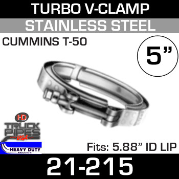 "Turbo V-Clamp for CUMMINS T-50 TURBO with 5.88"" ID 21-215"