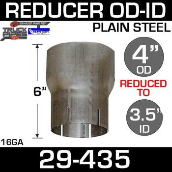 "4"" to 3.5"" Exhaust Reducer OD to ID Steel 29-435"