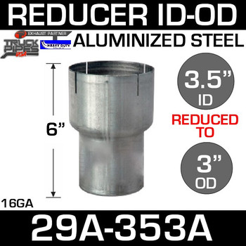 "3.5"" to 3"" Exhaust Reducer ID to OD Aluminized 29A-353A"
