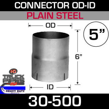 "5"" Exhaust Connector ID-OD Steel 6"" Tall 30-500"
