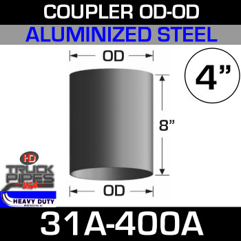 "4"" Exhaust Coupler OD-OD Aluminized 8"" Tall 31A-400A"