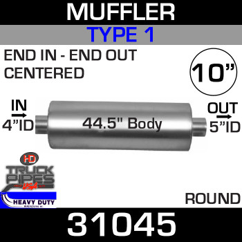 "Type 1 Muffler 10.08"" Round - 44.5"" x 4"" IN- 5"" OUT 31045"