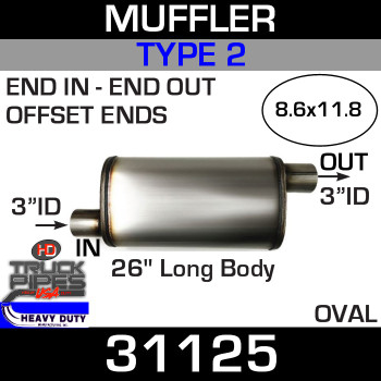 "Type 2 Muffler 8.6"" x 11.8"" Oval - 26"" x 3"" IN-OUT 31125"