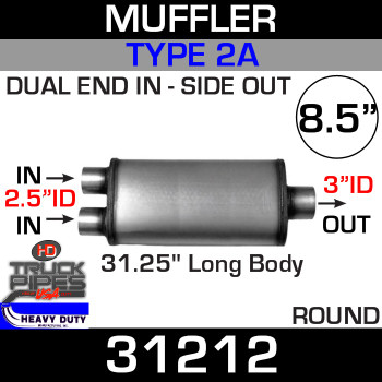 "Type 2A Muffler 8.5"" Round - 31.25 x 2.5"" Dual IN x 3"" OUT 31212"