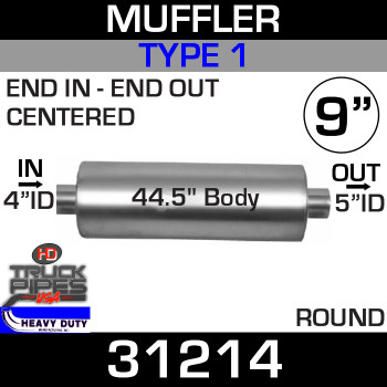 "Type 1 Muffler 9"" Round - 44.5"" x 4"" IN - 5"" OUT 31214"