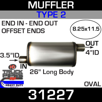 "Type 2 Muffler 8.25"" x 11.5"" Oval - 26"" x 3.5"" IN-4"" OUT"
