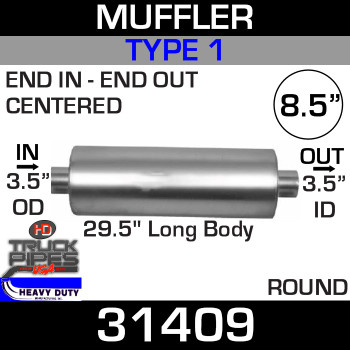 "Type 1 Muffler 8.5"" Round - 29.5"" x 3.5""OD IN- 3.5"" ID OUT FG26409N UPS"