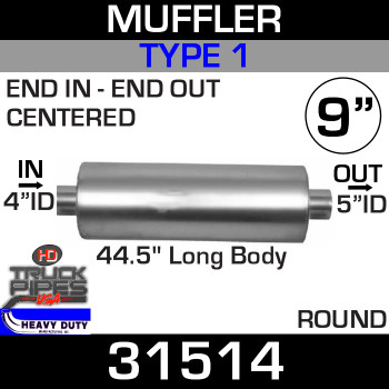 "Type 1 Muffler 9"" Round - 44.5"" x 4"" IN - 5"" OUT 31514"