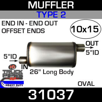 "Type 2 Muffler 10"" x 15"" Oval - 26"" x 5"" ID Inlet-Outlet 31037"