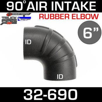 "6"" x 90 Degree Rubber Air-Intake Elbow 32-690"