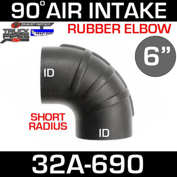 "6"" x 90 Degree Short Radius Rubber Air-Intake Elbow 32A-690"
