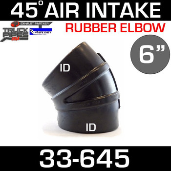 "6"" x 45 Degree Rubber Air-Intake Elbow 33-645"
