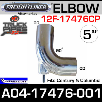 Freightliner Aftermarket 90 Degree Bolt-On Chrome Elbow A04-17476-001C