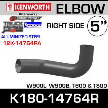 Kenworth W900/T600 Aluminized RIGHT Side Exhaust Elbow K180-14764R