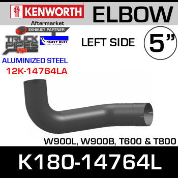 Kenworth W900/T600 Aluminized LEFT Side Exhaust Elbow K180-14764