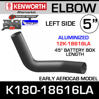 "Kenworth Aero LEFT Side Aluminized Elbow 45"" Battery Box K180-18616"